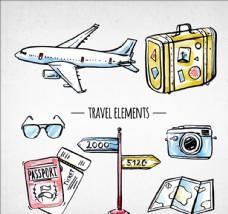 手绘水彩旅游元素