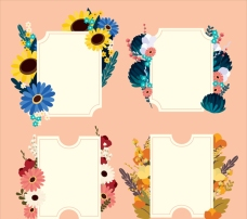 四款漂亮的花卉贴纸