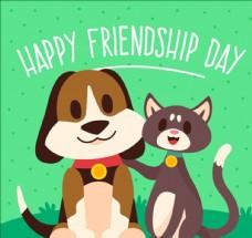 小猫小狗的友谊日海报