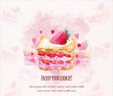 水彩经典草莓蛋糕