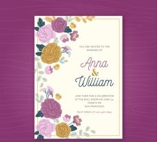 漂亮的花卉婚礼邀请卡