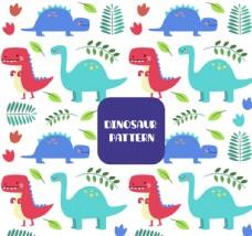 恐龙和树叶背景