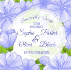 蓝色花卉婚礼请柬