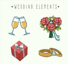 手绘婚礼元素集