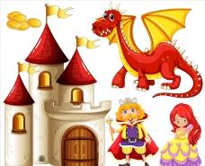 童话故事以恶龙和公主的插图