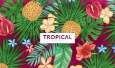 手绘热带水果花卉背景