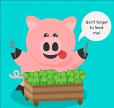 蓝色背景的小猪存钱罐吃钞票