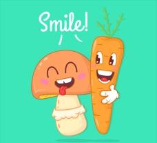 胡萝卜和朋友蘑菇的背景