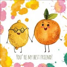 水彩柠檬和橙子的友谊日海报