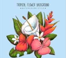 水彩风格的热带花卉
