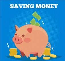 藍色鈔票和硬幣小豬存錢罐背景