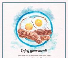 水彩美味的煎蛋和培根