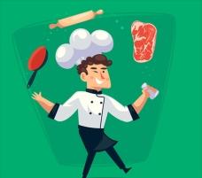 卡通快乐的厨师