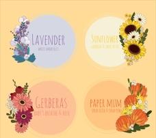 各种各样的花卉贴纸