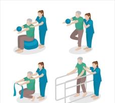 物理治疗师帮病人做康复练习
