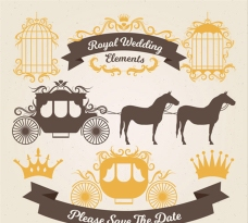 金色的婚礼马车和装饰品