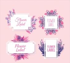水彩风格的花卉贴纸