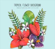 色彩斑斓的水彩热带花卉