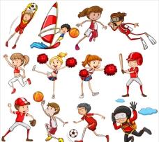 红色主题参加不同运动的孩子