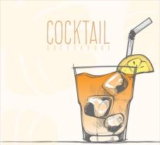 手绘冰块柠檬鸡尾酒