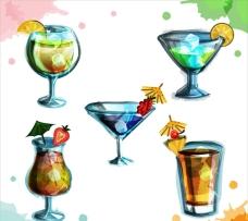 手绘水彩五款鸡尾酒插图