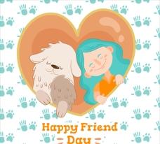 友谊日女孩和小狗海报