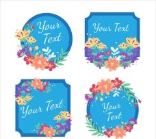 花卉蓝色的标签