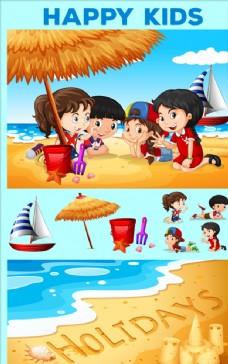 孩子们在海滩上玩耍