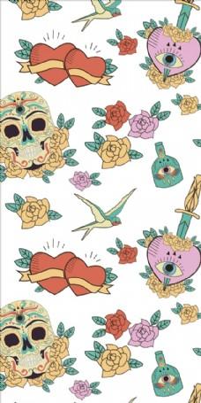 花朵花卉花鸟骷髅四方连续底纹