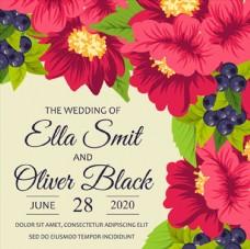 美丽花朵的婚礼邀请卡