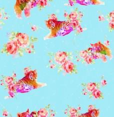 数码印花老虎与花背景图