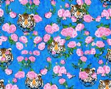 数码印花虎头花卉背景图