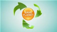 绿色环保回收文箭头文字