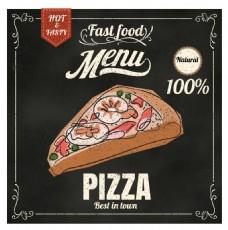 手绘披萨没事宣传海报EPS素材