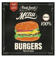 黑底手绘西餐汉堡海报矢量EPS素材