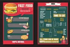 矢量西餐美食餐馆菜单宣传页EPS素材