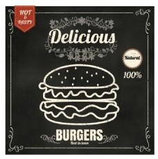 黑白矢量手绘西餐汉堡展示海报EPS素材