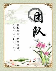 中国风企业团队展板