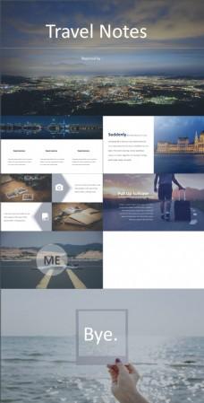 简约大图排版欧美风旅游日记ppt模板