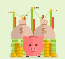 扁平化小猪存钱罐和硬币钞票