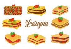 自由传统的意大利食品面条插画矢量图