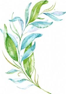 绿色水彩树叶png免扣元素