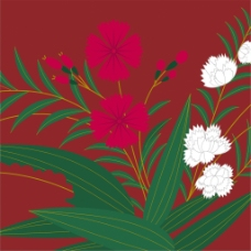 红色花草纹理图