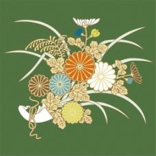 手绘花束绿色背景图