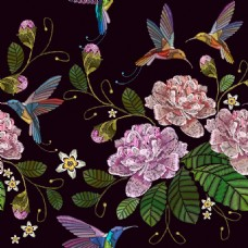 传统刺绣花朵图案