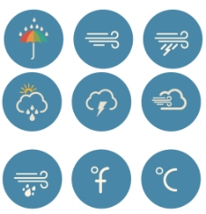 雨伞圆形图标