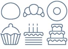 蛋糕线条小图标