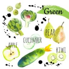 绿色果蔬图标设计图