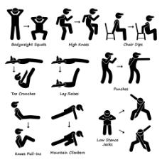 经典黑白圆头小人运动锻炼