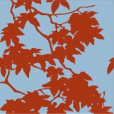 红色树叶纹理图